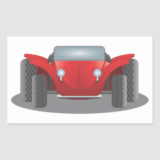 Front-Facing Red and Black Dune Buggy Rectangular Sticker