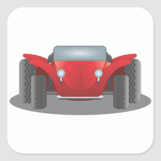 Front-Facing Red and Black Dune Buggy Square Sticker