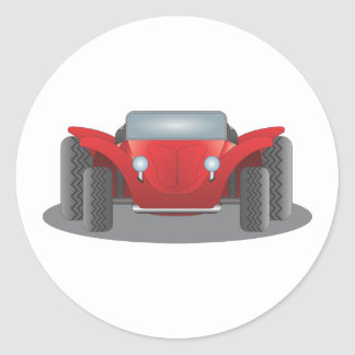 Front-Facing Red and Black Dune Buggy Classic Round Sticker