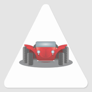 Front-Facing Red and Black Dune Buggy Triangle Sticker