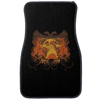 Front Floor Mats With Grunge Tattoo Skull and Wing