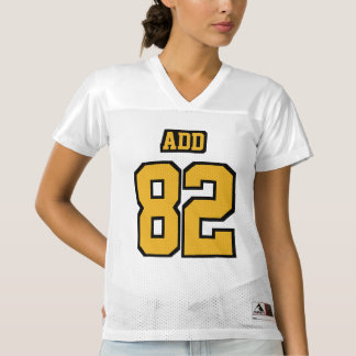 Front GOLD BLACK WHITE Womens Football Jersey