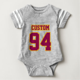 Front GRAY BURGUNDY GOLD Crewneck Football Outfit Infant Bodysuit