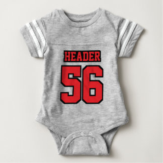 Front GRAY RED BLACK Crewneck Football Outfit Infant Bodysuit