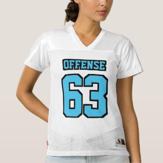 Front LIGHT BLUE BLACK WHITE Women Football Jersey