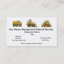 Front Loader Construction Business Cards