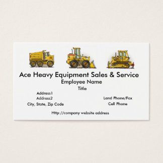 Front Loader Construction Business Cards