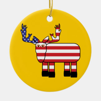 Front - Moose, Red, Blue, & White Stars Ornaments