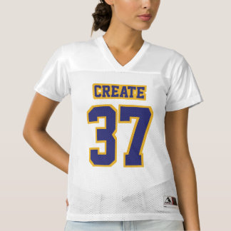 Front NAVY BLUE GOLD WHITE Womens Football Jersey