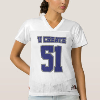 Front NAVY BLUE GREY WHITE Womens Football Jersey