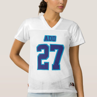Front NAVY BLUE WHITE Womens Football Jersey