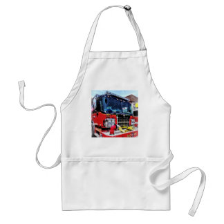 Front of Fire Truck With Hose Adult Apron
