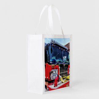 Front of Fire Truck With Hose Grocery Bag