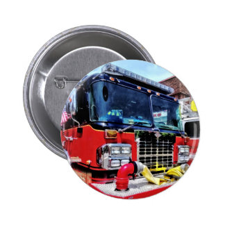 Front of Fire Truck With Hose Pinback Button