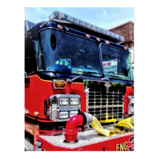 Front of Fire Truck With Hose Postcard