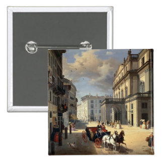 Front of La Scala Theatre, 1852 Pinback Buttons