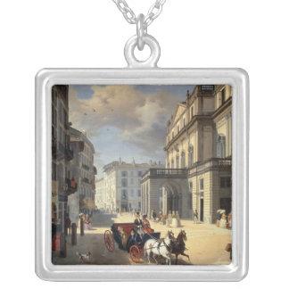 Front of La Scala Theatre, 1852 Square Pendant Necklace