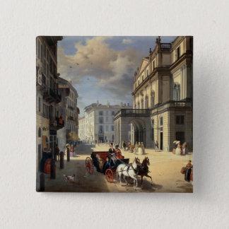 Front of La Scala Theatre, 1852 Pinback Button