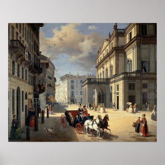 Front of La Scala Theatre, 1852 Poster