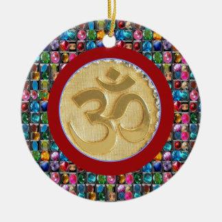 front OM MANTRA back GANAPATI idol symbols Ceramic Ornament