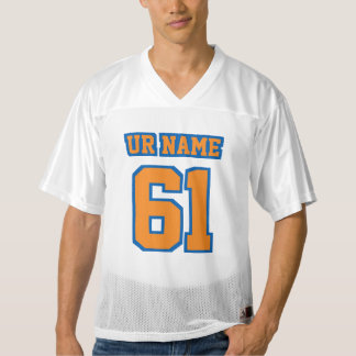 Front ORANGE BLUE WHITE Mens Football Jersey