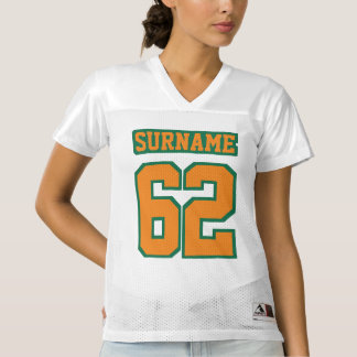 Front ORANGE GREEN WHITE Womens Football Jersey