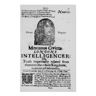 Front page from 'Mercurius Civicus' Poster