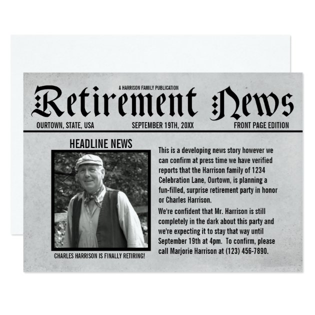 front page newspaper retirement party invitation  zazzle, Party invitations