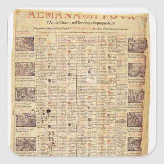 Front page of an almanach for 1653 square sticker