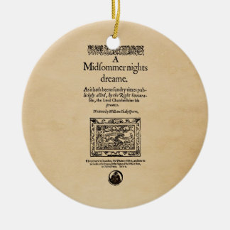 Front Piece to A Midsummer Nights Dream Quarto Christmas Tree Ornaments