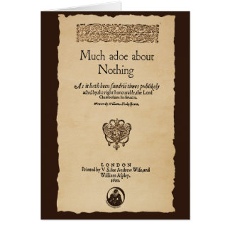 Front Piece to Much Ado About Nothing Quarto Card