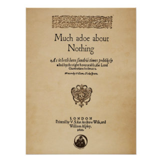 Front Piece to Much Ado About Nothing Quarto Poster