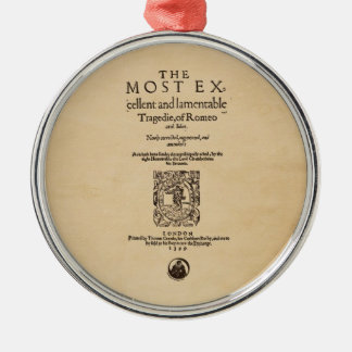 Front Piece to Romeo & Juliet Quarto (1599) Metal Ornament