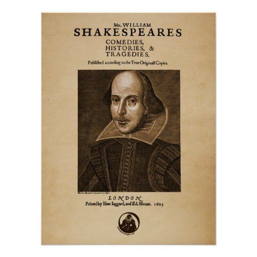 Front Piece to Shakespeare's First Folio Print