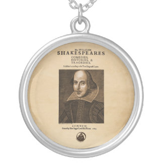Front Piece to Shakespeare's First Folio Round Pendant Necklace