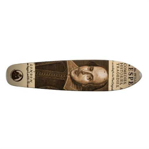 Front Piece to Shakespeare's First Folio Custom Skate Board