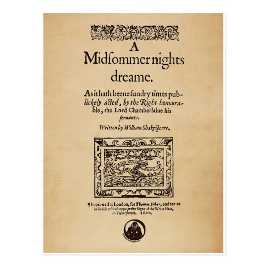 Front Piece to the A Midsummer Nights Dream Quarto Postcard