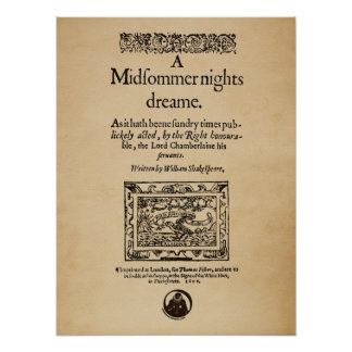 Front Piece to the A Midsummer Nights Dream Quarto Poster