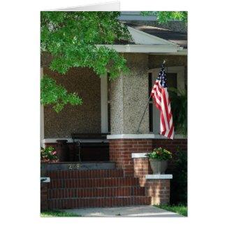 Front Porch With American Flag card