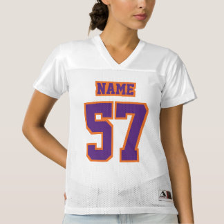 Front PURPLE ORANGE WHITE Womens Football Jersey