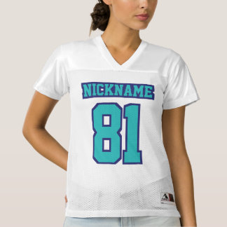 Front TURQUOISE NAVY BLUE WHITE Women Sport Jersey