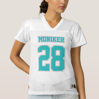 Front TURQUOISE SILVER WHITE Women Football Jersey