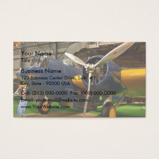 Front view of blue airplane business card