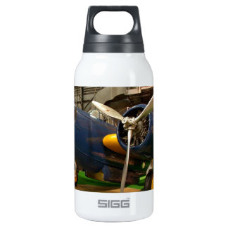 Front view of blue airplane insulated water bottle
