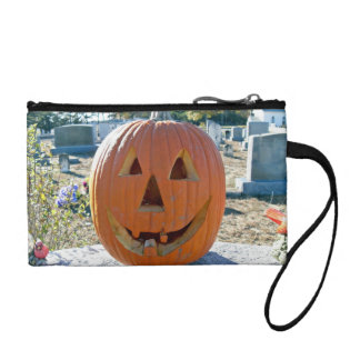 Front view of Carved Pumpkin Coin Wallet