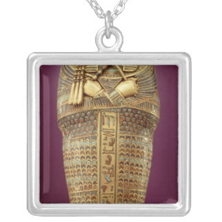 Front view of one of the canopic coffins square pendant necklace
