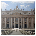 Front view of St. Peter's Basilica, Vatican. Large Square Tile