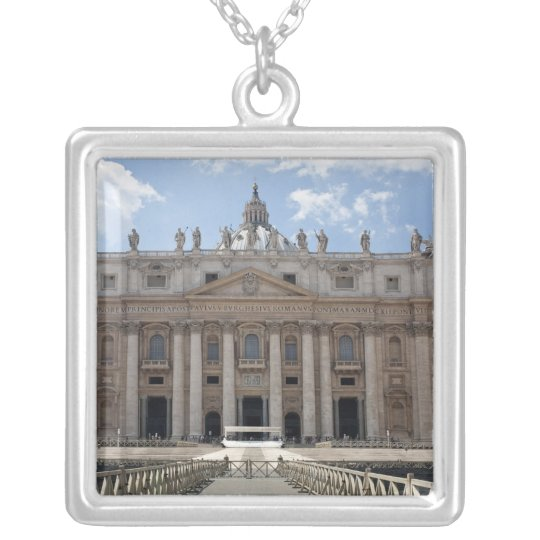 Front view of St. Peter's Basilica, Vatican. Silver Plated Necklace