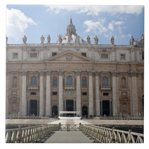 Front view of St. Peter's Basilica, Vatican. Tiles