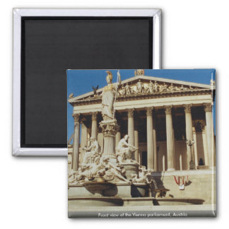 Front view of the Vienna parliament, Austria 2 Inch Square Magnet